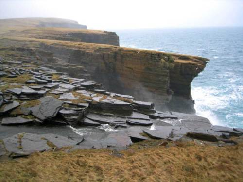 Orkney cliff top walk in typical weather