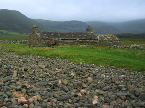 Traditional stone house - shelter beside the ocean, Orkney Islands